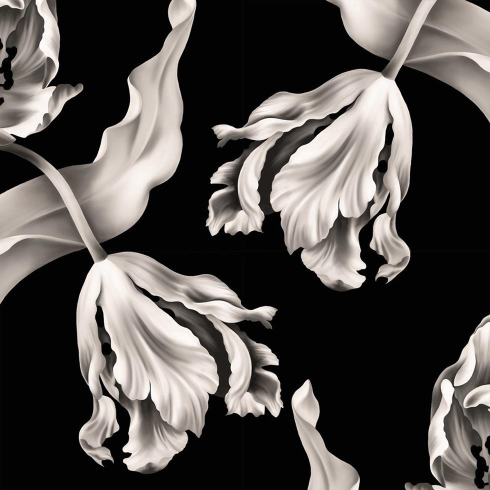 Black floral print wallpaper dark floral wallpaper by ellie cashman - Ellie Tulipwallpaperblack_1 Dark Floral 3