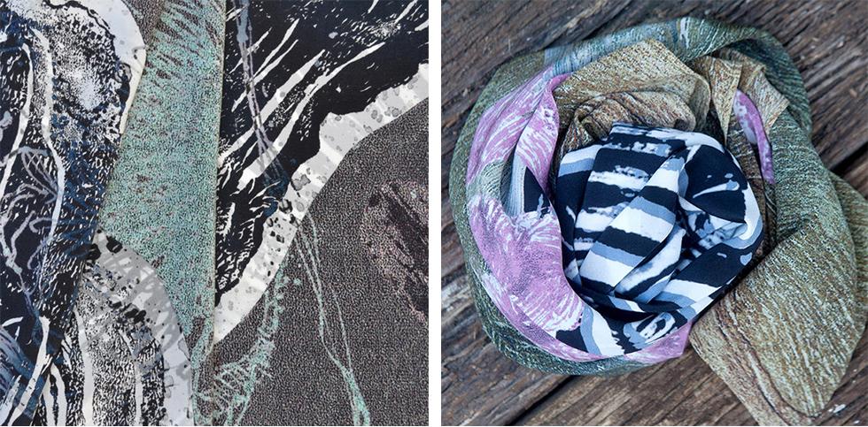 Fan Coral Silk Crepe de Chine detail copy