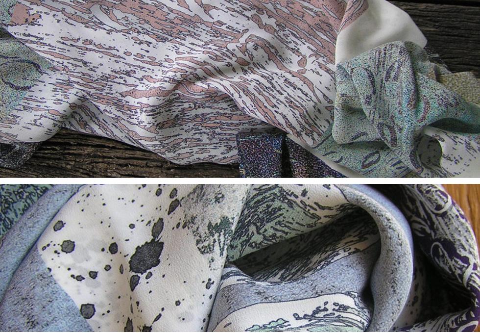 Pods Silk Crepe de Chine Scarf detail