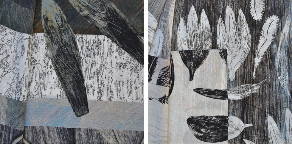Seven Fishes Silk Crepe de Chine scarf detail