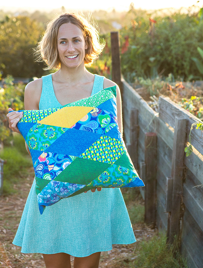 Artist Amanda with Diamond Pillow in Spring Bloom