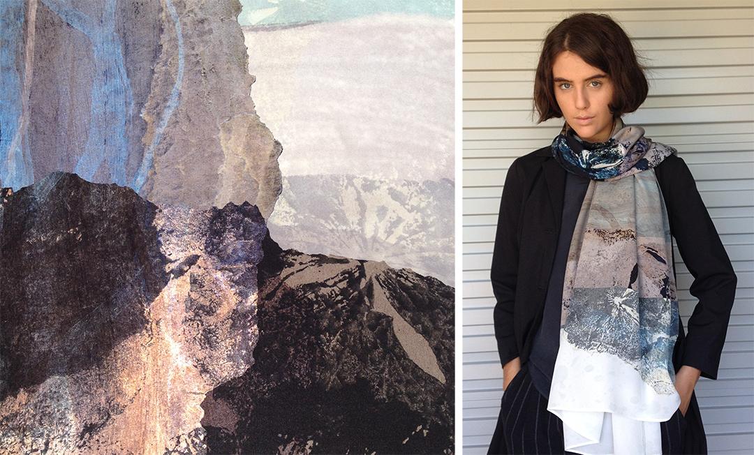 Vivien Haley Nasturtium rectangle silk scarf detail