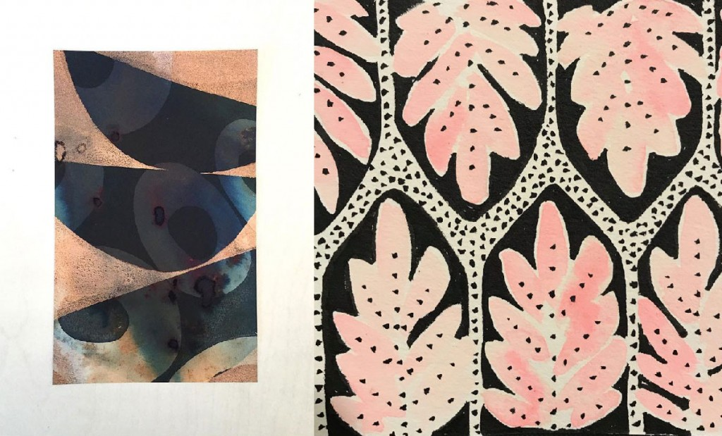 (L) Mixed Media piece by Michelle Burns (R) Pattern by @sweetandloshop