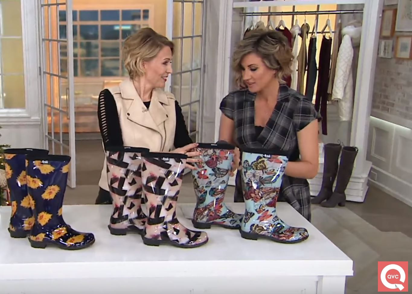 Stephanie (left) appearing on QVC with host Shawn Killinger